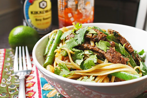 Beef and Noodle Stir Fry with Green Beans