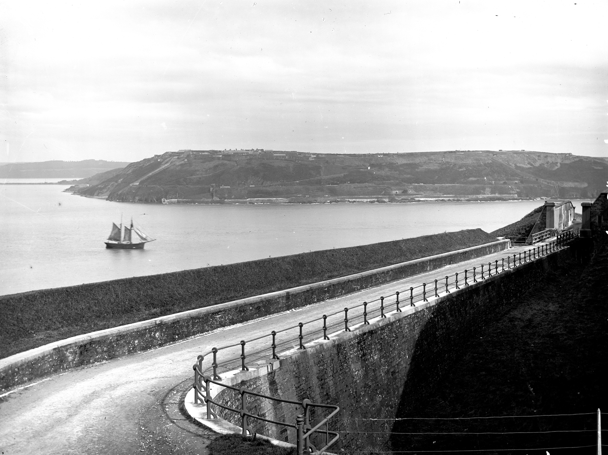 Carlisle Fort, Crosshaven, Co. Cork with sailing boat. Taken from Camden Fort (in the foreground)