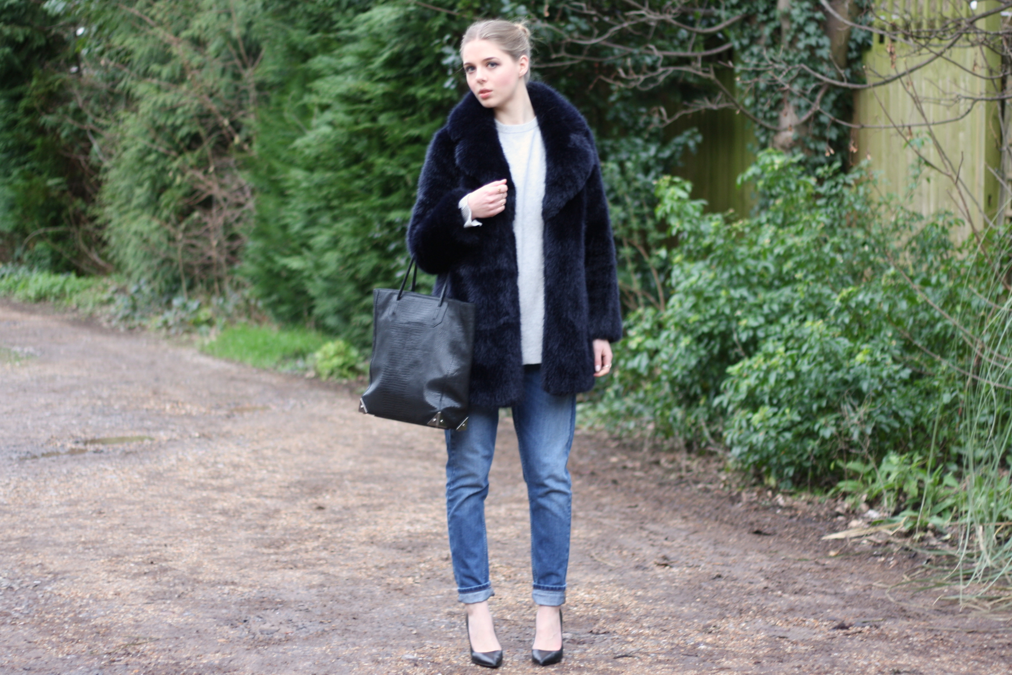 Whistles Kumiko navy faux fur coat