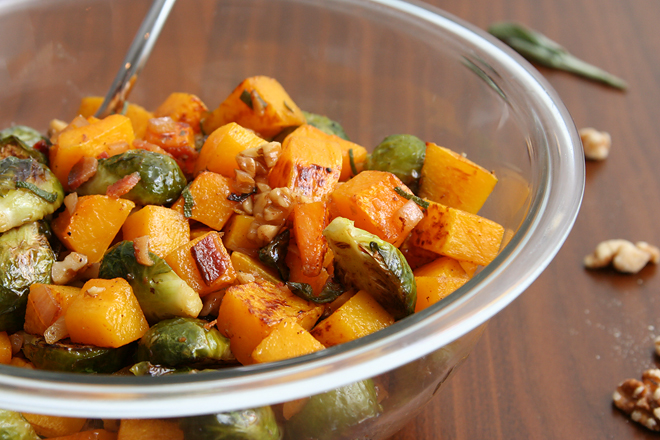 ... brussels sprouts and butternut squash with bacon-porter dressing