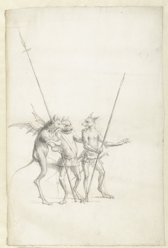 Cornelis Saftleven - Three standing mythical creatures, mid 17th century