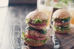 homemade hamburger with fresh vegetables.Tonned ph…