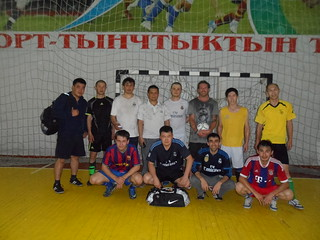 Playing indoor football with the locals