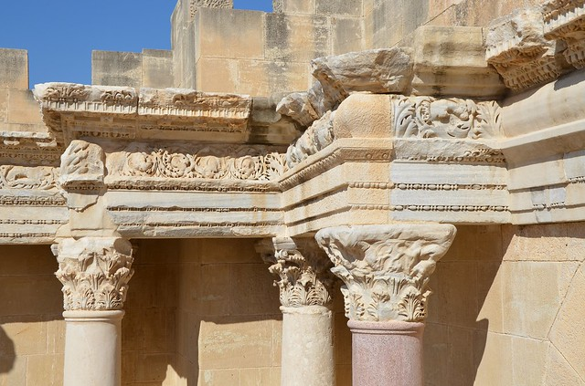 Detail of the reconstructed section of the scaenae frons, the decorated background of the stage comprises a row of marble and granite columns, Scythopolis (Beth-She'an), Israel
