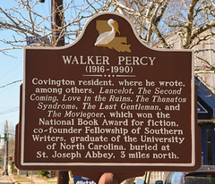 Photo of Walker Percy brown plaque