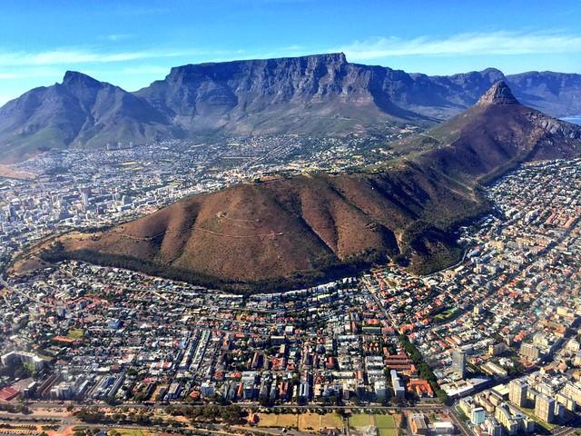 Imagen de Cudad del Cabo desde un helicóptero