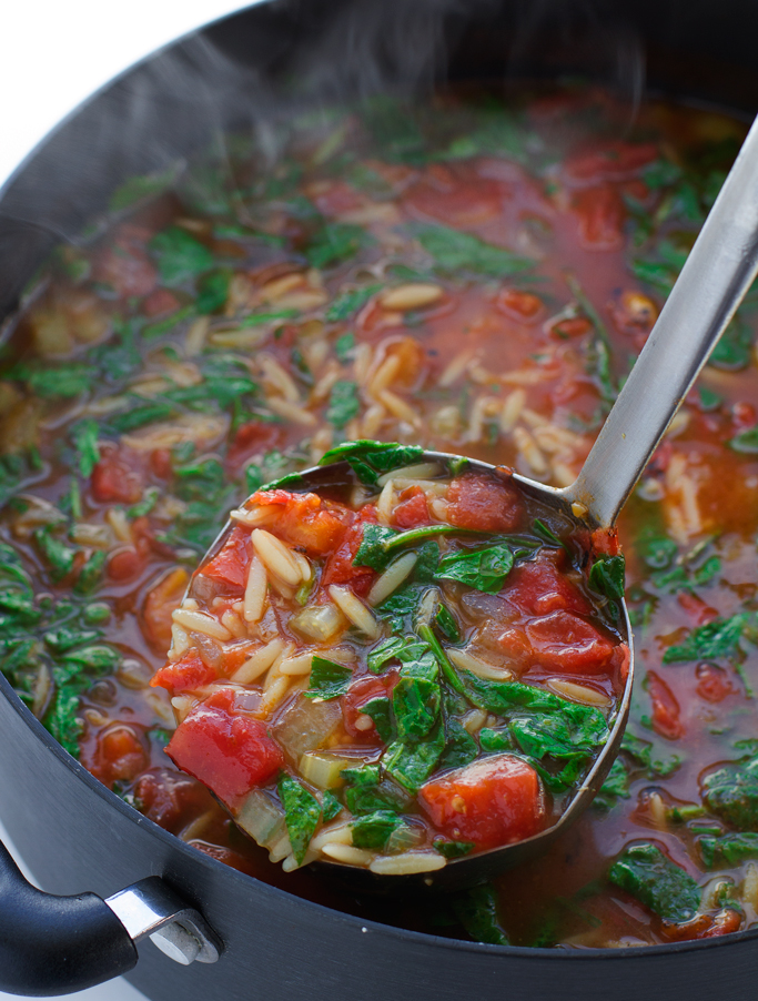 Italian Orzo Tomato Spinach Soup | http://homemaderecipes.com/cooking-102/healthy-recipes/orzo-recipes/