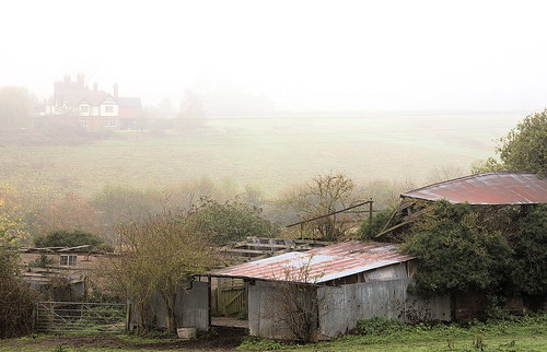 Derelict Barns in the Mist