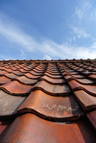 Roof tiles of the ceramics and autumn sky in Akazu,Seto.
