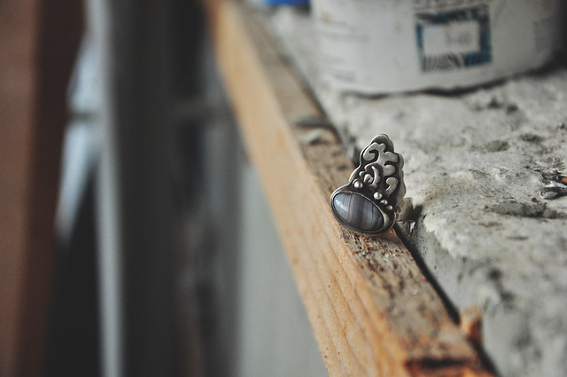 sterling silver & agate ring