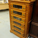Tall 6 drawer glass darkwood chest