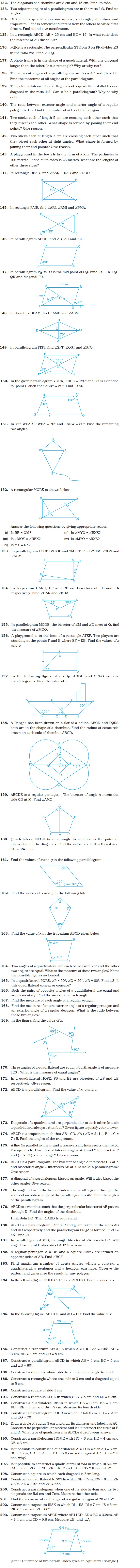 class 8 important questions for maths understanding short answer type questions understanding quadrilaterals and practical geometry