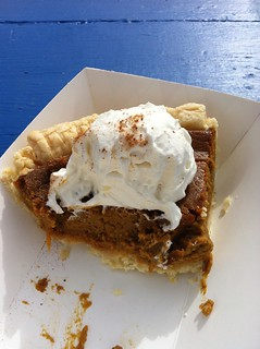 Yummy pumpkin pie at a roadside stand