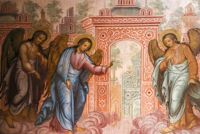 Fresco painting in Cathedral of the Nativity, Suzdal スズダリ、ラジヂェストヴェンスキー聖堂の天使たち