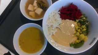 Potato Mash, Daikon and Garlic Pickle, Cauliflower and Lentil Smash, Beetroot salad, tahini sauce, daal, tofu miso soup at Supercharger