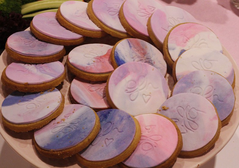 Pink and Purple monogrammed cookies