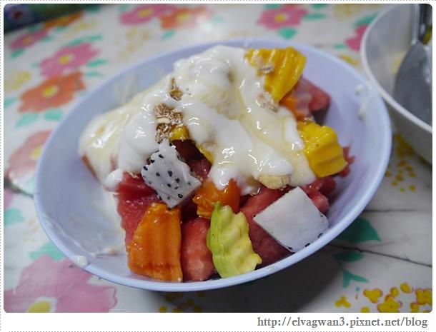 泰國-泰北-清邁-Somphet Market-Tip's Best Fresh Fruit Smoothie-市場-果汁攤-酸奶水果沙拉-燕麥水果優格沙拉-香蕉Ore0-泰式奶茶-早餐-31-648-1
