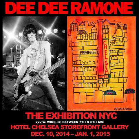 12/10/14, 01/01/15, Dee Dee Ramone Exhibition @ Hotel Chelsea Storefront Gallery, NYC, NY