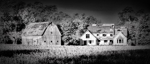 morning autumn trees ohio blackandwhite bw autostitch panorama usa white house black tree fall home beautiful beauty barn rural landscape geotagged photography blackwhite woods october midwest emotion farm pano sony country rustic barns lawn dramatic panoramas wideangle software alpha dslr a200 geotag vignette hdr app smalltown 2012 facebook clintoncounty handyphoto iphoneedit snapseed jamiesmed