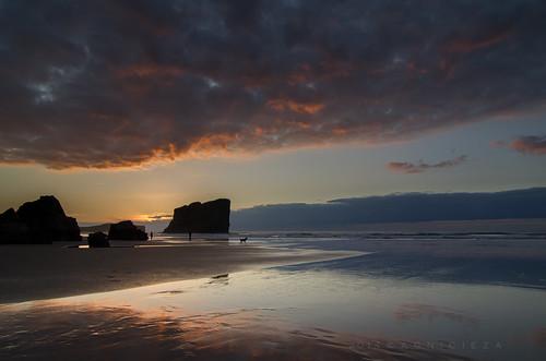 sunset dog seascape beach clouds reflections landscape pentax silhouettes paisaje cloudscape marinas sanmartín 2011 cantabricsea smcpentaxda1224mmf40edalif pentaxk5 castrosanmartín