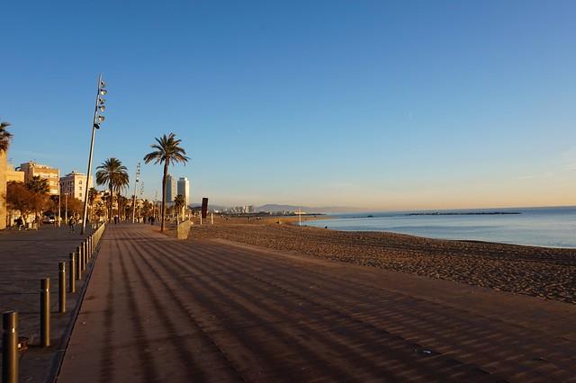 Barceloneta beach in morning
