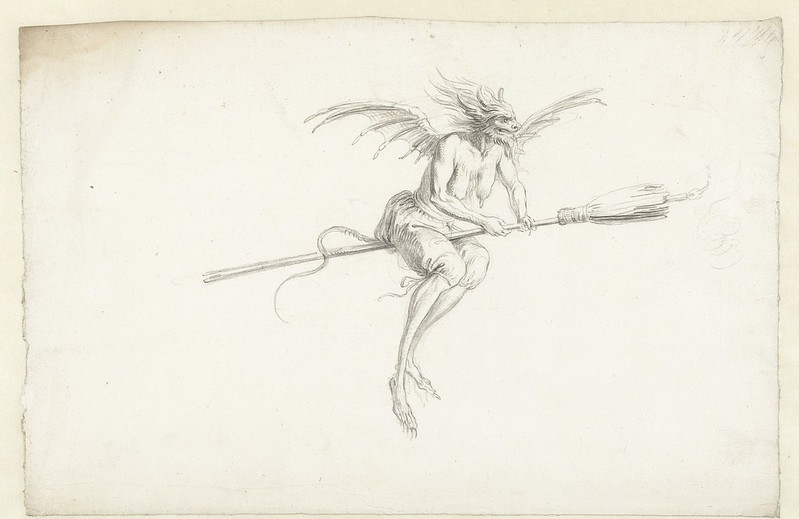 Cornelis Saftleven - Monstrous witch on a broom, mid 17th century