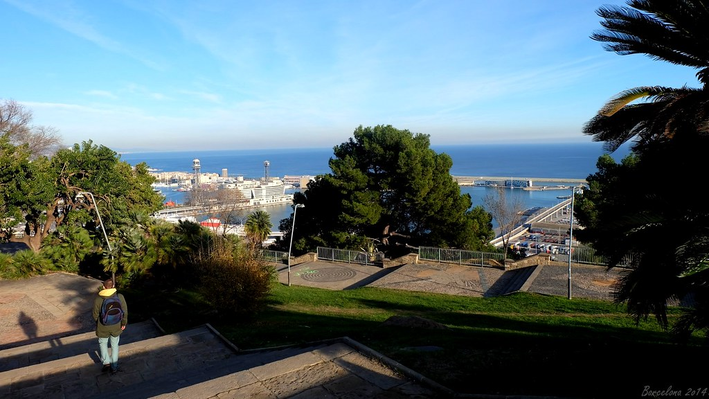 Barcelona day_3, View on old port from Montjuïc
