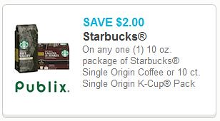 and a high value 21 starbucks single origin coffee or 10ct single origin k cups printable coupon this one has the publix logo on screen but no mention of