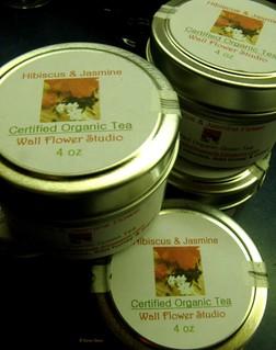 Hibiscus and Jasmine Tea tins