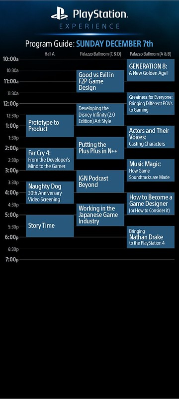 PlayStation Experience: Sunday, December 7th Schedule of Events