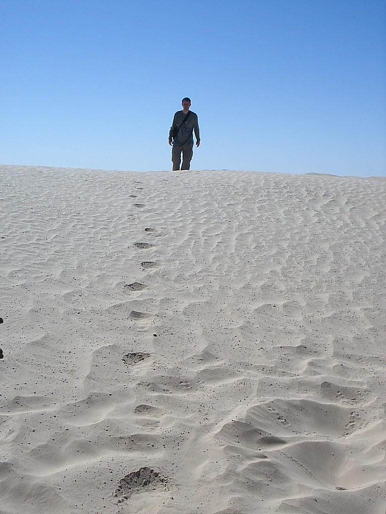 Footprints in the Sahara at Douz, Tunisia