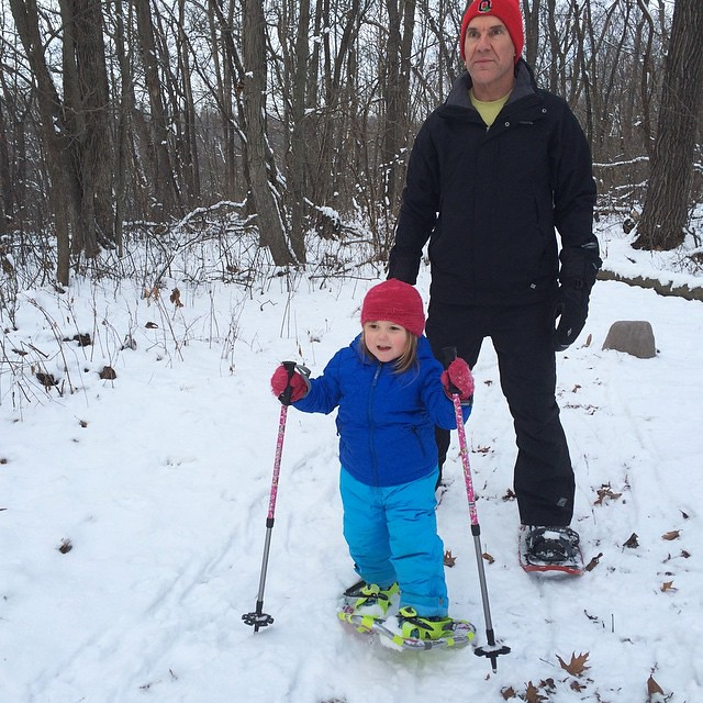 With grandpa, her snowshoe instructor :) #winterbreak2014