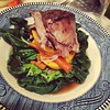 Braised lamb shank, elephant garlic & carrots over sweet potatoes and tatsoi: http://en.m.wikipedia.org/wiki/Tatsoi delectable green. Dish paired well with a decent Spanish red on a chilly night.