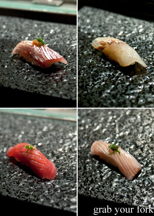 Snapper, sand whiting, alfonso kinmedai and aged yellow fin tuna nigiri sushi at Sokyo at The Star, Pyrmont