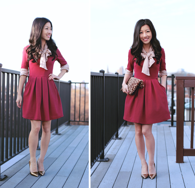 holiday party red pleated dress1