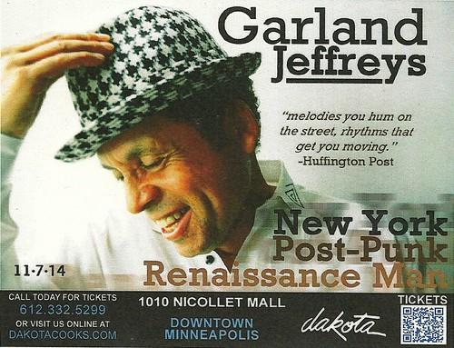 11/07/14 Garland Jefferys @ Dakota Jazz, Minneapolis, MN (Handbill)