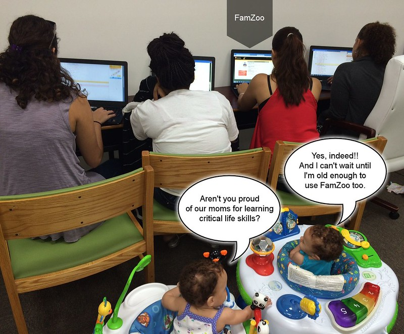"Clients of the Young Parents Services program earning ""Baby Bucks"" on FamZoo for learning critical life skills."