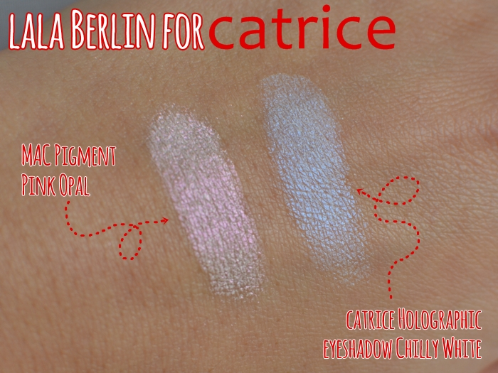MAC Pigment pink opal lala Berlin for catrice Holographic Eyeshadow C01 Chilly White