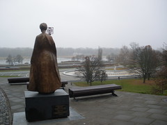 Madam Curie statue overlooking the Vistula River
