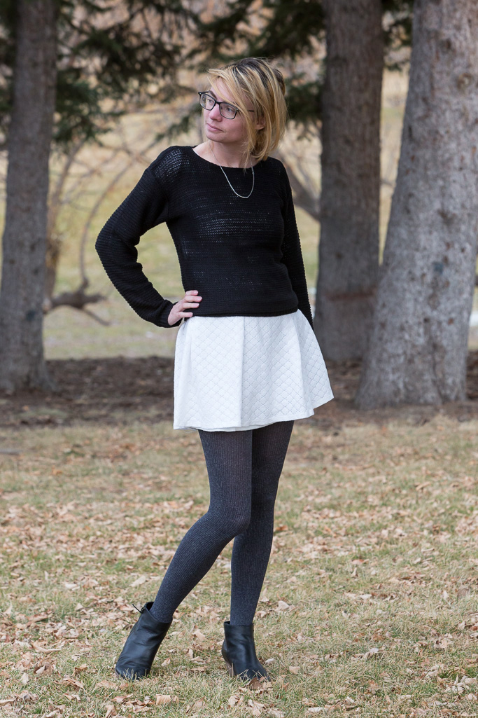 black, white, outfit, winter outfit, sweater, dress, popbasic,