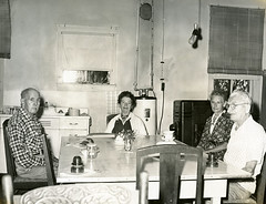 Koreshans seated around the dining table.