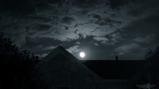 Moonrise over roof