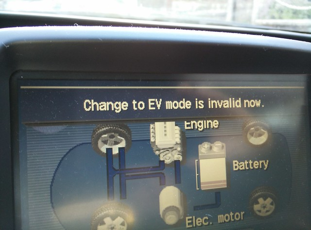 2005 Prius displaying 'Change to EV mode is invalid now'