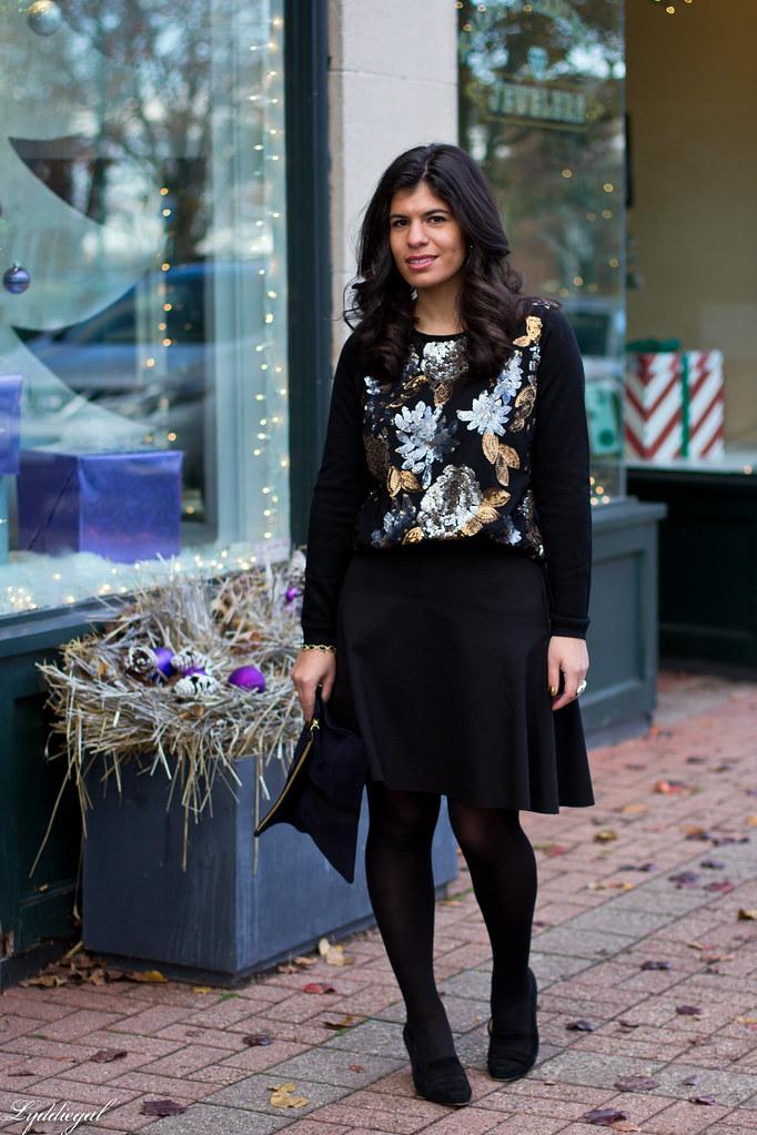 sequined sweater, black flippy skirt, clare v clutch-1.jpg