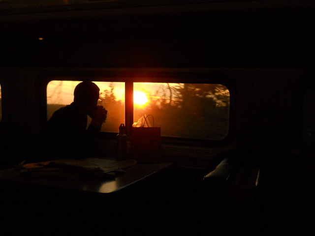 passenger silhouetted against train window