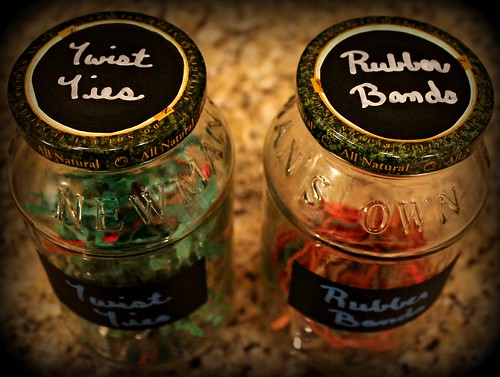 glass jars with chalk labels