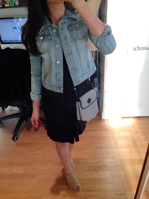 LOFT dress and denim jacket, Gucci vintage crossbody, Andre Assous Josie espadrilles