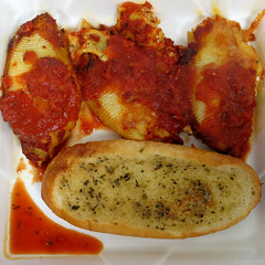 Square meal: Stuffed shells and garlic bread