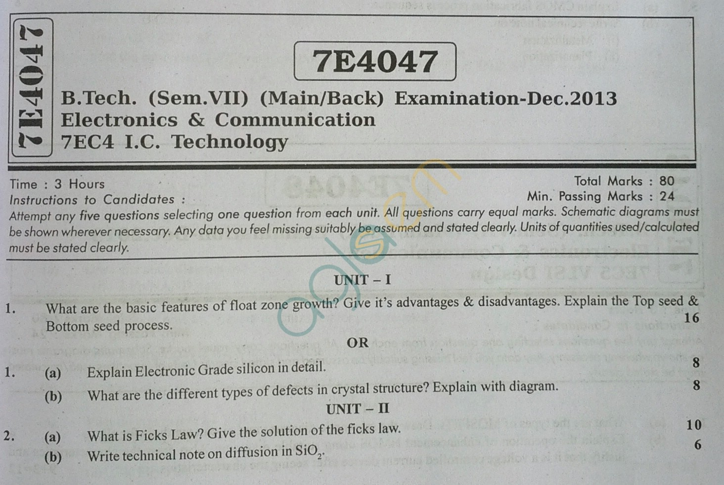 RTU: Question Papers 2013 - 7 Semester - EC - 7E4047