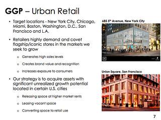 General Growth Properties investor presentation slide